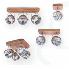 LED Strahler modern Ball Wood Nickel - matt  Eiche/Weiß