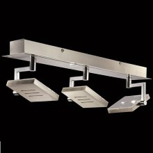 LED-Deckenstrahler Nickel-matt / Chrom, 3-flg.