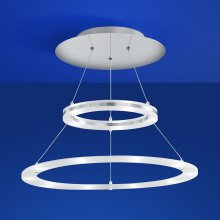 LED-Deckenleuchte Mica doppelter Ring in Nickel-matt