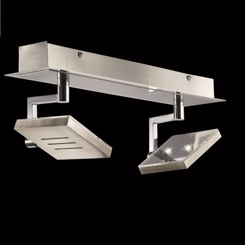 LED-Deckenstrahler in Nickel-matt / Chrom, 2-flg.  - Modell 18852 von Fischer & Honsel