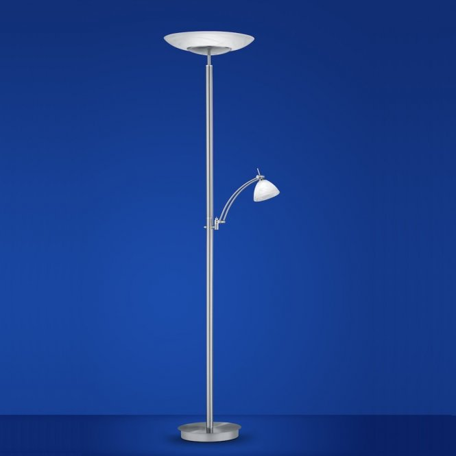 LED-Deckenfluter Falun in Nickel-matt / Chrom